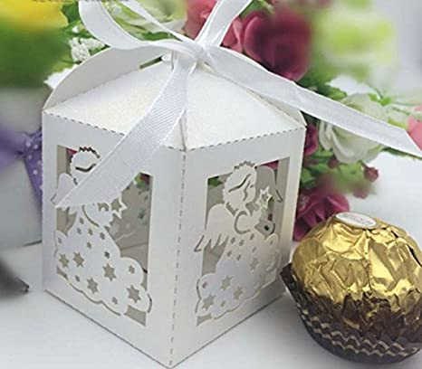 50 Unidades Cross Laser Cut Candy Favor Box bautizo baby shower Party Bomboniere Regalos con lazos