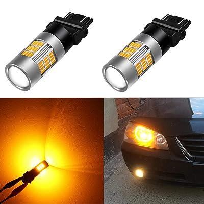 Alla Lighting Super Bright LED 3157 Bulb High Power 4014-SMD 4157 3457 3156 3057 3157 LED Bulb 3457A 4157NA 3157A Amber Yellow LED Turn Signal Blinker Light Bulbs Lamp (Set of 2): Automotive