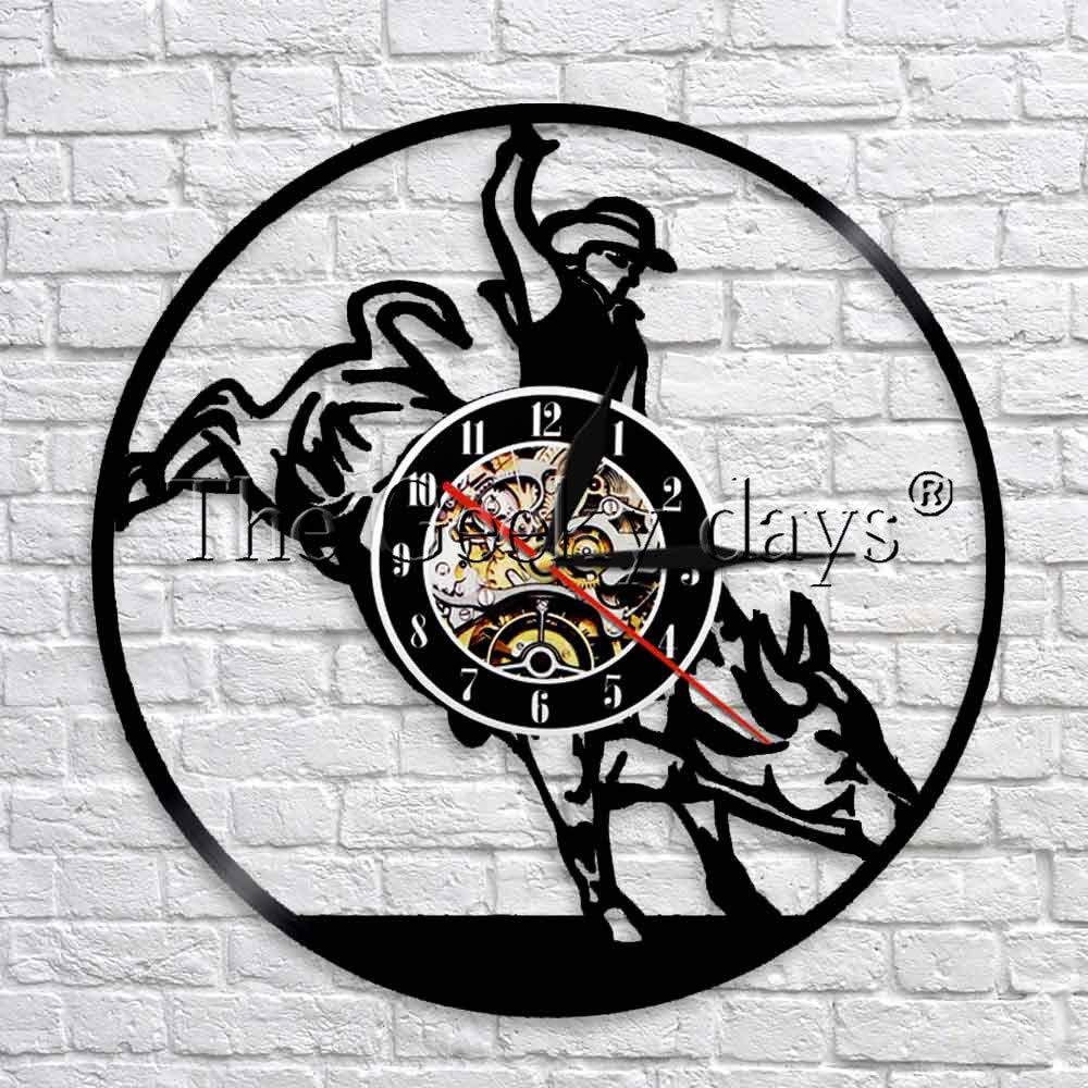JFSJDF 1 Piece Bull Rider Cowboy Horse Scenic Art Clock Bullfighter Luminous Wall Clock Saddling Up Wall Art