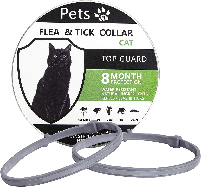 Petsvv 2 Pack Flea Collar for Cats, Lasting Cat Flea Collar, Easy to Repels Fleas & Ticks, Safe and Waterproof