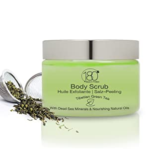 Exfoliant corporel huile & sel 180 Cosmetics aux sels de la mer Morte exfoliants et nourrissants, Tibetian Green Tea, 250 ml