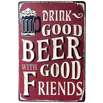 DWE Bar Póster, frío Metal Vintage de pizarra con cerveza ...