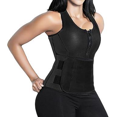 3f488ba56934c Amazon.com  SHAPERX Camellias Women Neoprene Hot Sweat Sauna Suit Waist  Trainer Vest  Clothing