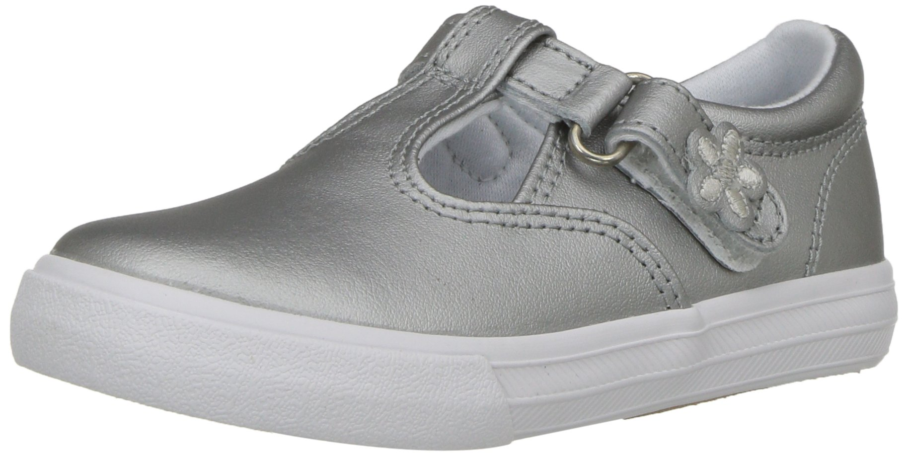 Keds Daphne T-Strap Sneaker (Toddler/Little Kid), Silver/Silver, 5.5 M US Toddler