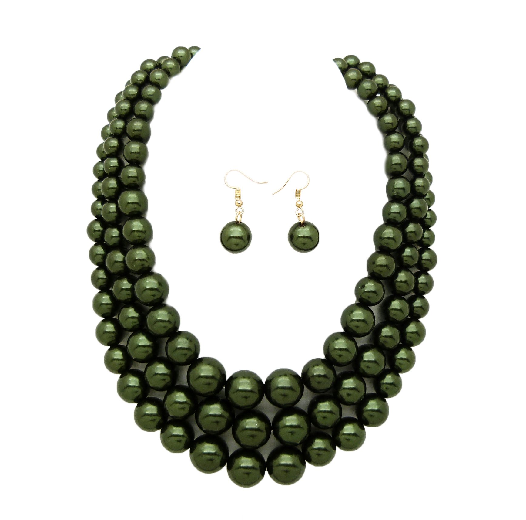 Women's Simulated Faux Three Multi-Strand Pearl Statement Necklace and Earrings Set (Dark Olive Green)