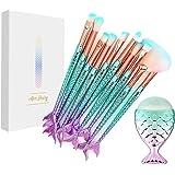 NEEDOON Ensemble de brosses de maquillage 11 Pièces Pinceaux Maquillage Brosse à maquillage en forme de sirène 3D Brosses à cosmétiques Ombre à paupières Eyeliner Blush Brushes