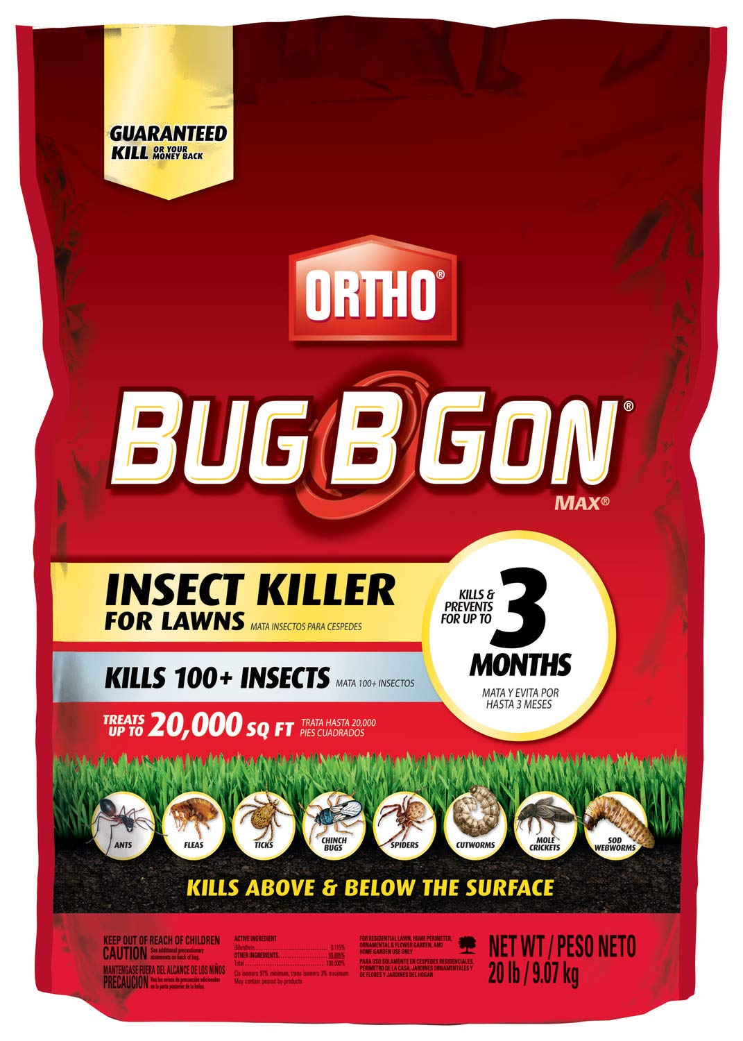 Ortho Bug B Gon Insect Killer for Lawns3, 20 lb. - Kills Ants, Fleas, Ticks, Chinch Bugs, Mole Crickets and Cutworms - Use on Lawns, Ornamentals and Home Perimeter - Treats up to 20,000 sq. ft. by Ortho