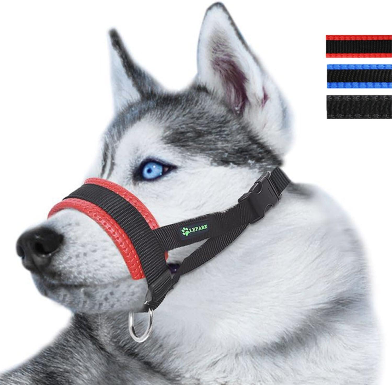 ILEPARK Bozal de Nylon para Perros Grandes Previene Mordidas, Ladridos y Que Mastiquen, Bozal Lazo Ajustable (L,Rojo)