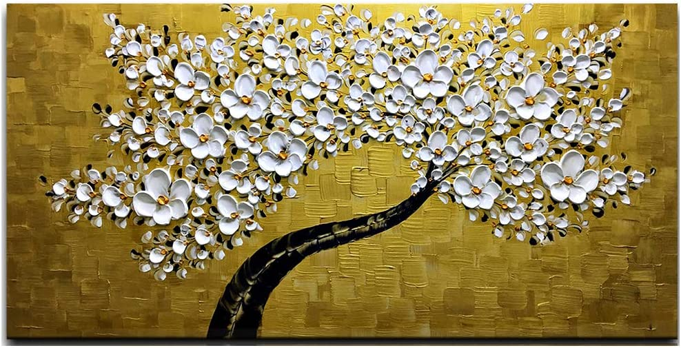Amazon Com Desihum 3d Golden And White Flowers Wall Art Stretched Canvas Art Set Framed Ready To Hang For Living Room Office Hotel 24 X48 Paintings