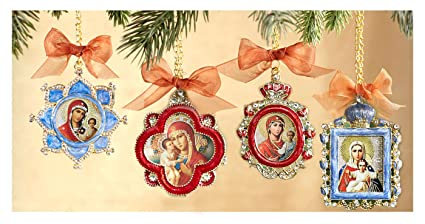set of 4 religious christmas ornaments madonna and child christ chain 5 12 inch