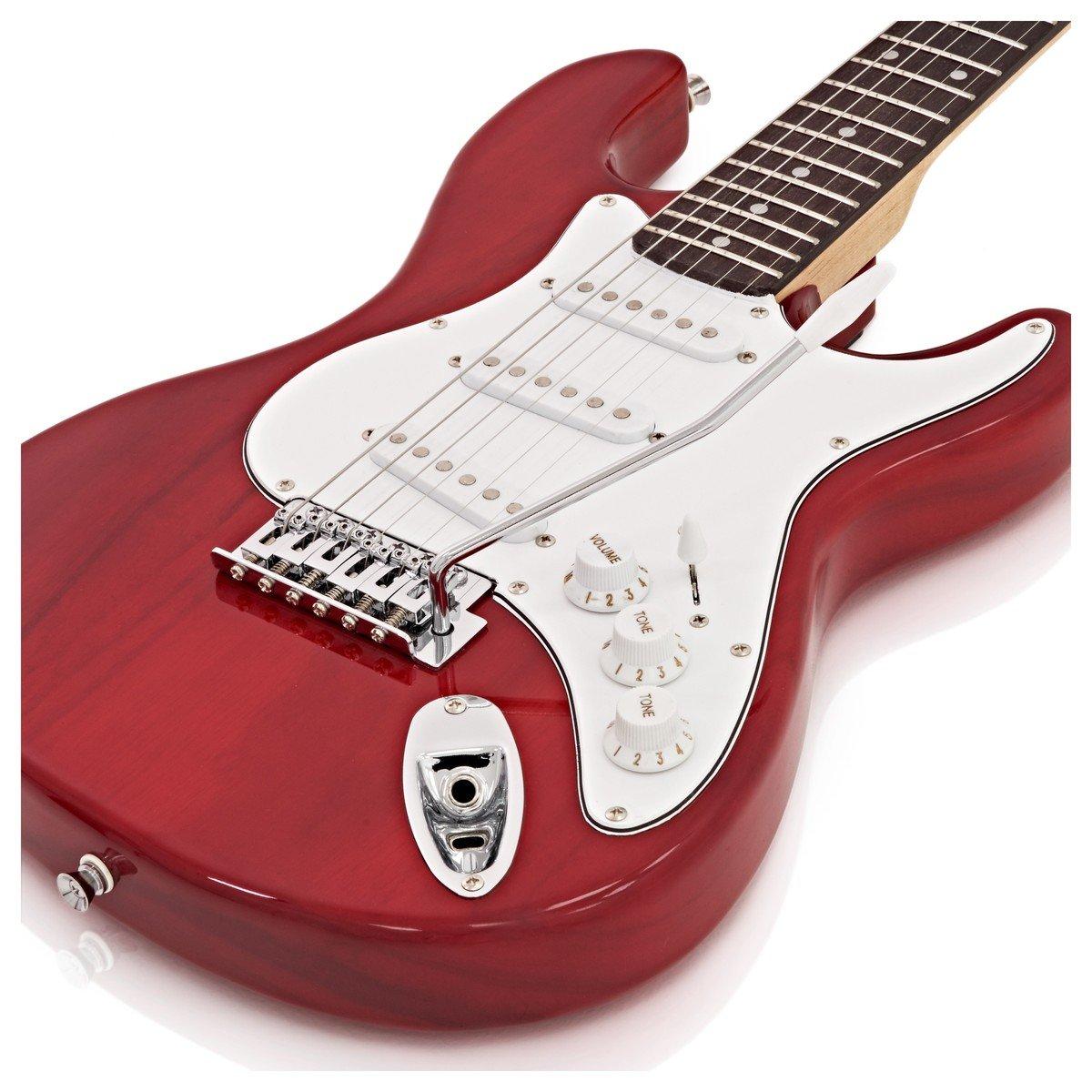 Paquete de guitarra eléctrica LA 3/4 + Amplificador de 10 W Granate