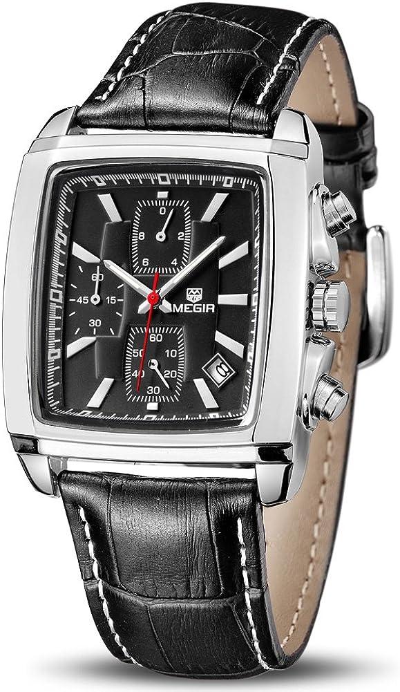 MEGIR Quartz Analog Waterproof Luminous Chronograph Leather Strap Men s Wrist Watch with Calender