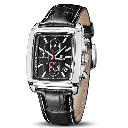 Megir - Reloj de Pulsera para Hombre, cronógrafo de Cuarzo, Correa de Cuero Militar, Regalo para Hombre: Amazon.es: Relojes