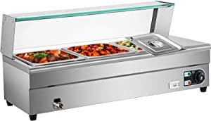 VEVOR 3-Pan Bain Marie Food Warmer 6-Inch Deep, 110V Food Grade Stainelss Steel Commercial Food Steam Table, 1500W Electric Countertop Food Warmer 33 Quart with Tempered Glass Shield