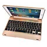SUOSHI 索士 苹果ipad air2/pro 9.7寸蓝牙键盘全包边无线键盘休眠保护套壳薄(输入流畅手感好 一体式设计 美观 轻盈便携)K298金色