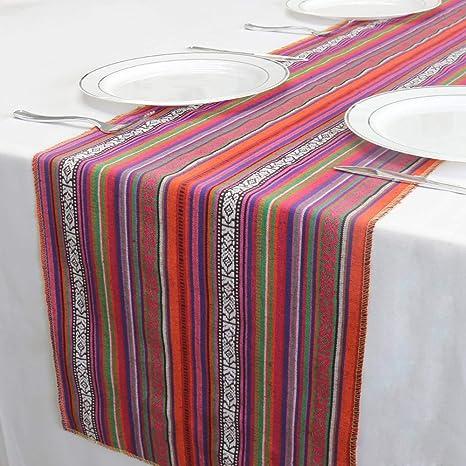 Rustic Bridal Shower Decor Table Runner Multi Color Table Runner Wedding Table Runner-16x72 Red Multi Set of 1 Salsa Red Multi Stripe Cotton Table Runner 72 Inch Long Farmhouse Table Runner