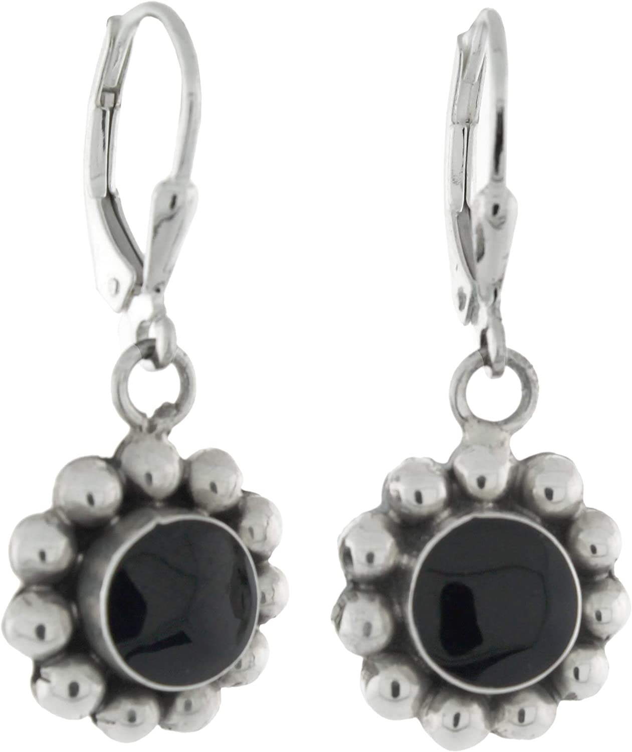 Sterling Silver Cabochon Bezel-set Dangling Round Green Simulated Stone Lever Back Earrings