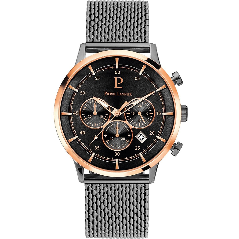 メンズ腕時計Pierre Lannier – 226d488 – Capital – クロノグラフ – 日付 – チャコールグレーとローズゴールドメッキ – Milaneseストラップ  B07DFQHSPS