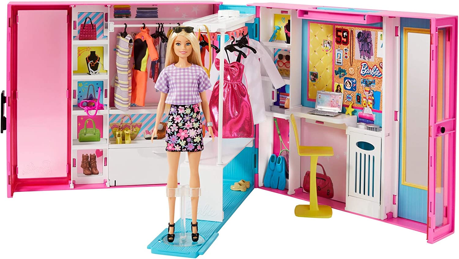 Amazon Com Barbie Dream Closet With Blonde Barbie Doll 25 Pieces Toy Closet Expands To 2 Ft Wide Features 10 Storage Areas Full Length Mirror Customizable Desk Space And Rotating Clothes Rack