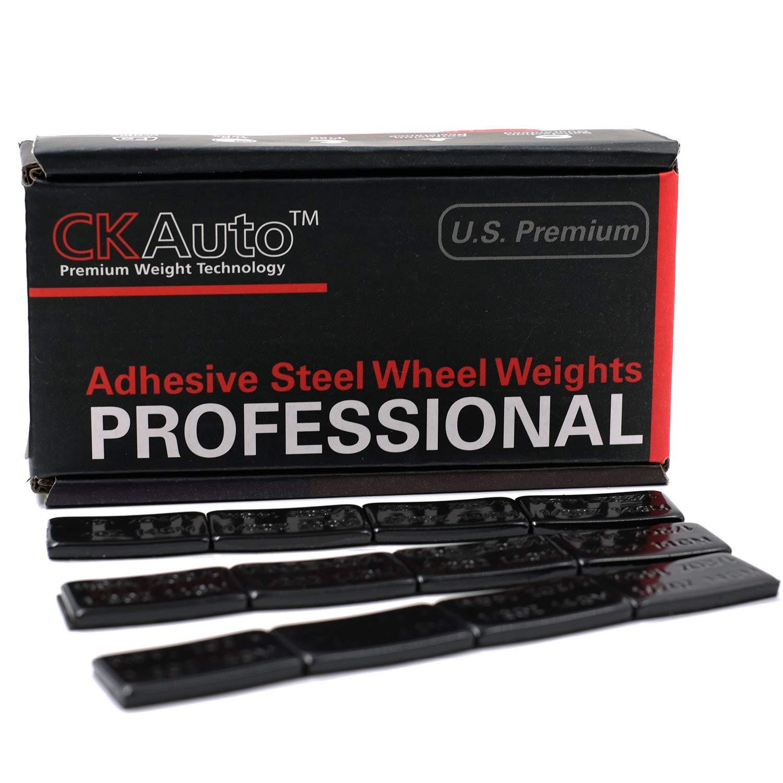 CK Auto 1/2oz, 0.5oz, Ultra Slim Low Profile, Black Adhesive Stick on Wheel Weights, 60 oz/Box, US Quality, (120pcs)
