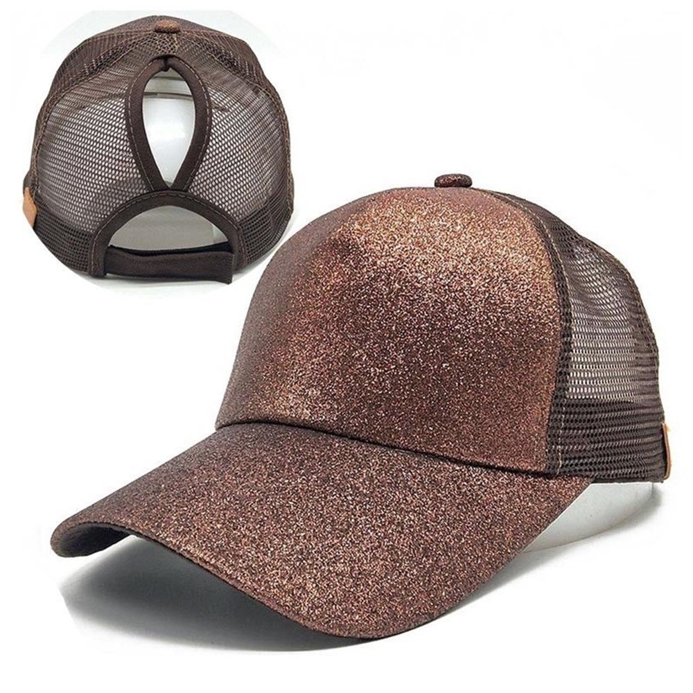 Ponytail Baseball Cap, 2018 Women Sequins Shiny Messy Bun Snapback Hat Sun Caps DOUMI Ponytail Baseball Cap