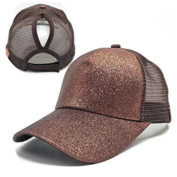 Gorra de béisbol de cola de caballo,An-sell 2018 Mujeres lentejuelas Sombrero de Snapback de moño desordenado brillante Gorras de sol (Marrón): Amazon.es: ...
