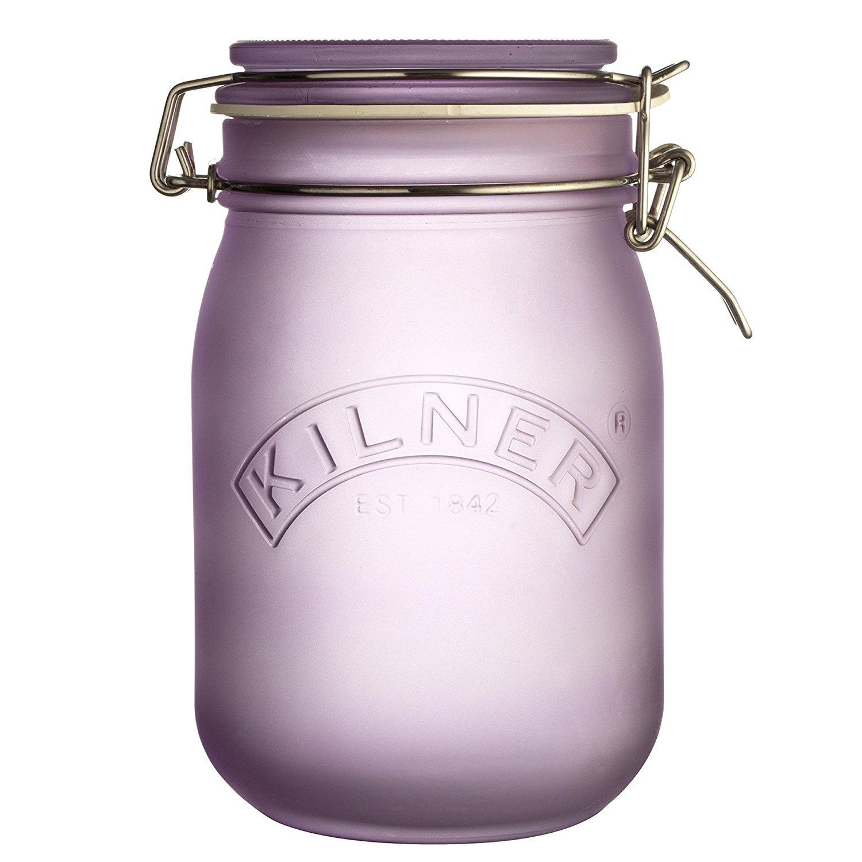 KILNER 1litro–Clip Top Tarro de Cristal, Color Morado 0025.855