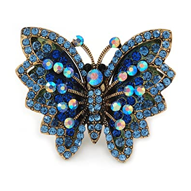 Avalaya Large Blue Crystal Butterfly Ring In Gold Tone - Size 7/8 Adjustable WF4VxE7P2Q