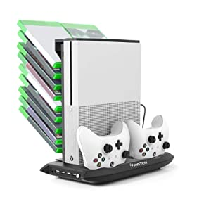 For Xbox One S Cooling Vertical Stand, Insten Dual Controller Battery Charging Station Stand and Game Holder with Cooling Fans and 4 USB Ports compatible with Microsoft Xbox One S