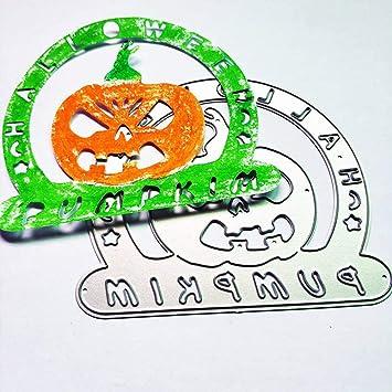 Plantilla de metal para Halloween, diseño de calabaza, para manualidades, álbumes de recortes, decoración en relieve, color plateado: Amazon.es: Hogar