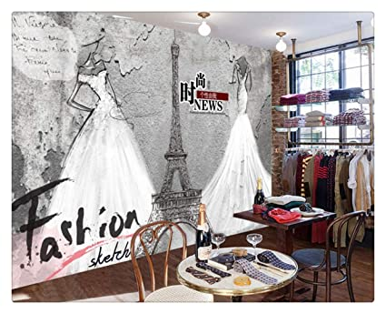 1a3d9e77389 Image Unavailable. Image not available for. Color  Bridal Shop Decoration  Mural Wallpaper Retro Retro Fashion Personalized Clothing Store ...