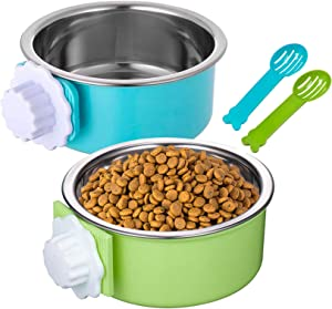 Hamiledyi Crate Dog Bowl Removable Hanging Stainless Steel Water Food Feeder Pet Cage Coop Cup with 2 Food Scoops for Kitten, Puppy, Birds, Rats, Guinea Pigs - 2 Pcs