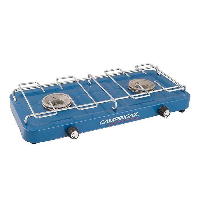 Campingaz - Hornillo para acampada con 2 fuegos, color azul: Amazon.es: Deportes y aire libre