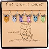What a Hoot Wine Charms Set of 6, Painted