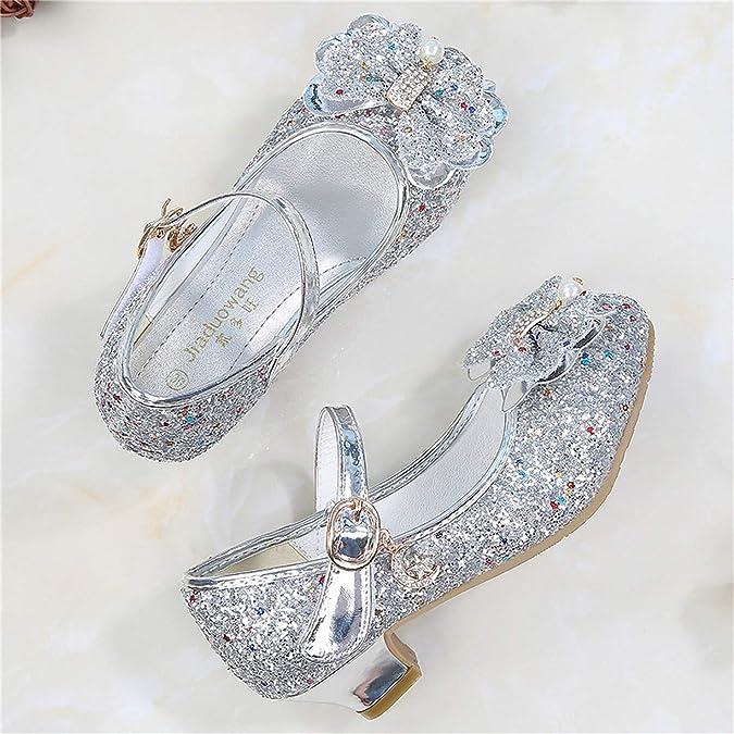 Monissy Princesse Chaussures Enfant Fille Cendrillon Sandale Talon Haut Paillette Brillante Perle Crystal Noeud Papillon Scratch Pendentif M/étal Mariage Soir/ée Anniversaire