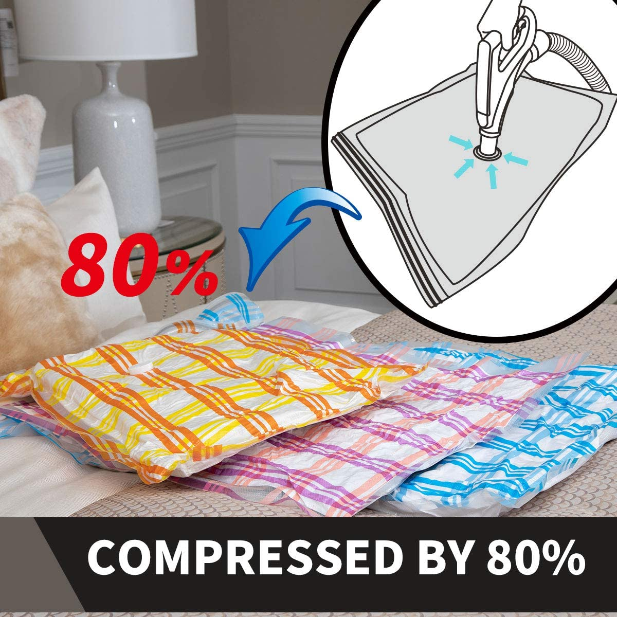 3 Medium+3Large +3Jumbo+3Rollup Bags Storage Master Space Saver Bags for Travel and Home Reusable Vacuum Storage Bags Save 80/% More Storage Space Work with Vacuum Cleaner Travel Hand Pump
