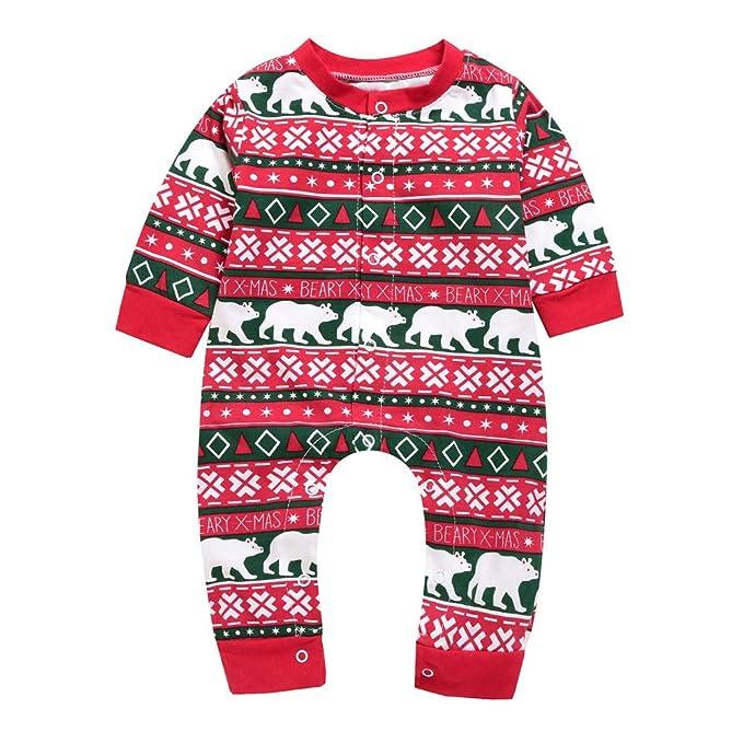 Xmiral Bebé-Niños Pijama Enteros Peleles Mameluco Infantil Navidad Estampado Dibujo Animado Regalo Algodón Rojo