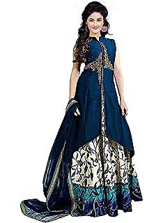 Drashti villa woman s Embroidered Semi Stitched Flower Printed Anarkali Gown  (Free Size) (Blue 9dd78a374