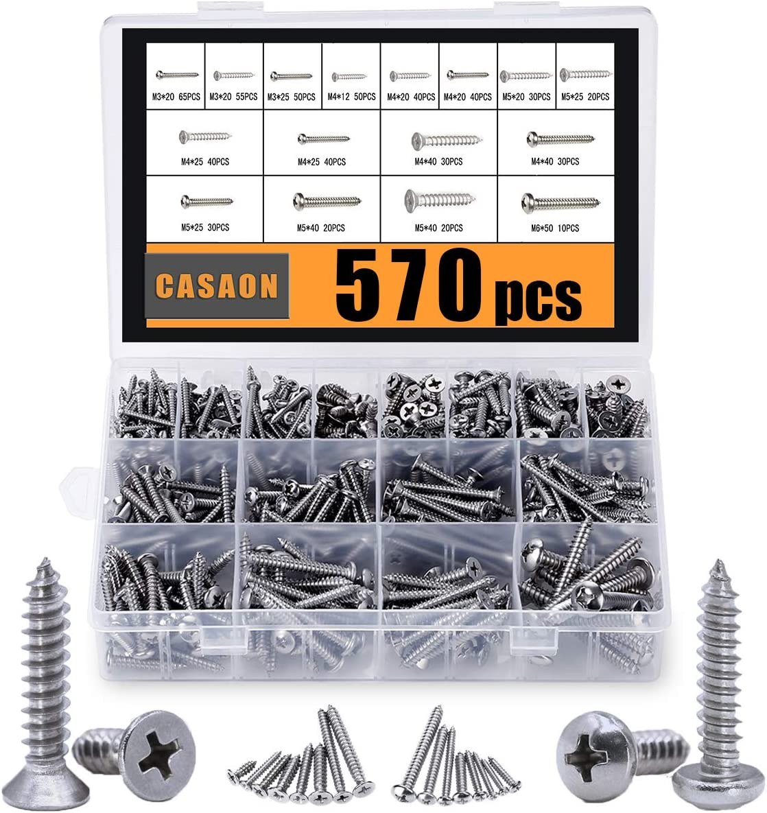 Self Tapping Screws Assortment Set, M3/M4/M5/M6 304 Stainless Steel Sheet Metal Screws Kit, Casaon Phillips Drive Wood Screw Assortment 570pcs (285pcs Round Head and 285pcs Flat Head)