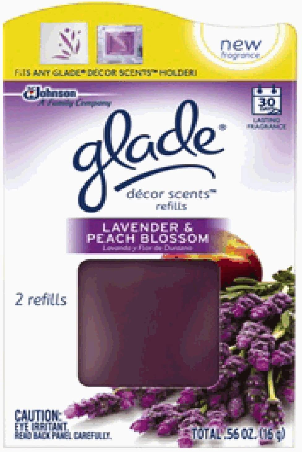 Glade Décor Scents Refill, Lavender and Peach Blossom, 0.56 Ounce