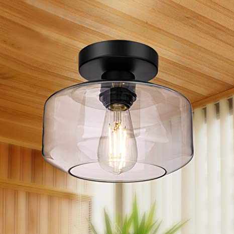 Amazon Com Semi Flush Mount Ceiling Light 750 Lumen Led Bulb Included Ceiling Light Fixture Farmhouse Light Fixture With Clear Glass Lamp Shade For Bedroom Hallway Dining Room Bathroom Corridor Passway Home Improvement