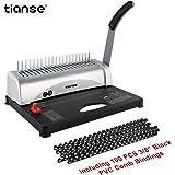 TIANSE Relieuse A4, 21 trous, 450 feuilles, Machine à relier spirale avec kit de démarrage 100 PCS 3/8 '' Reliure à peigne, Machine à relier, idéal pour les documents de bureau quotidiens