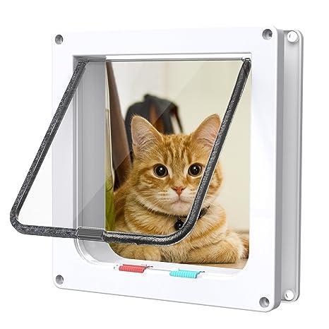 Fypo Puerta de Gato Puerta de Aleta Gatera Cuadrada Acceso Seguridad para Gatos Ventana de Observación de Mascota de 4 modos 23,5 * 25cm L (Blanco)
