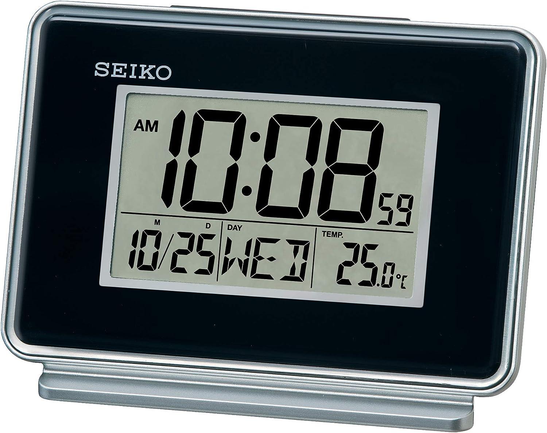Seiko – Horloge LCD Double Alarme, Fonction Calendrier, Noir, 6 x 12 x 8 cm