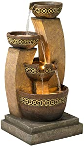 "John Timberland Four Bowl 41 1/2"" High LED Cascading Floor Fountain"