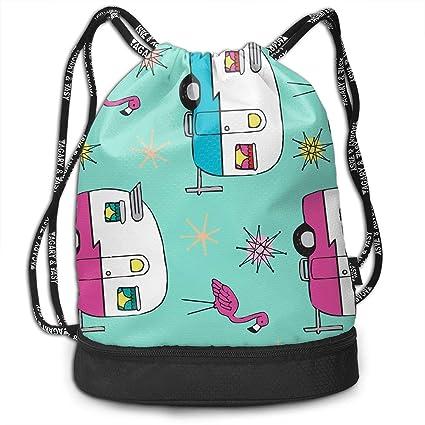 nbvnc Mochila con cordón Colorful Happy Camper Van Flamingos ...