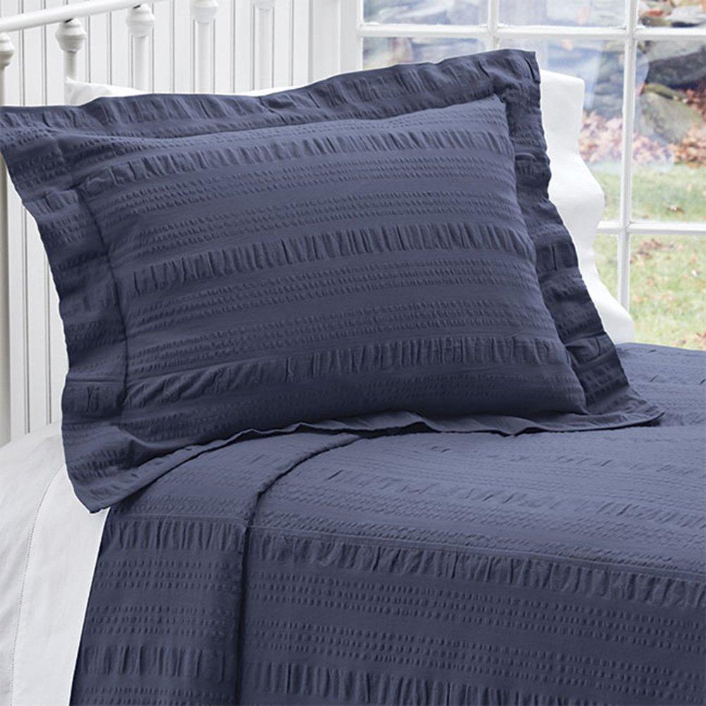 Orvis Solid Seersucker Bedspread/Only Queen, Navy Blue,
