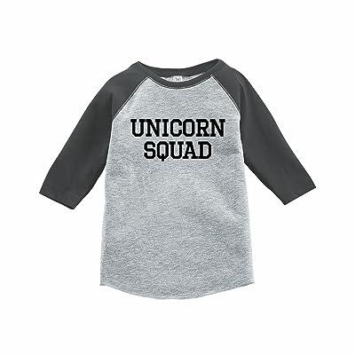 7 ate 9 Apparel Funny Kids Unicorn Squad Baseball Tee Grey