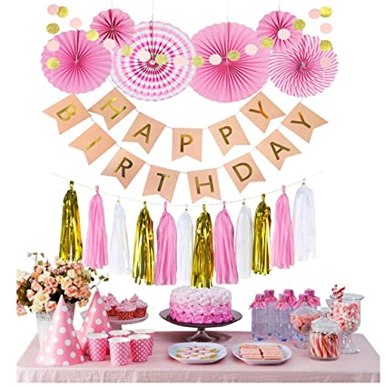 Amazon.com: Decoración de cumpleaños, color rosa y dorado ...