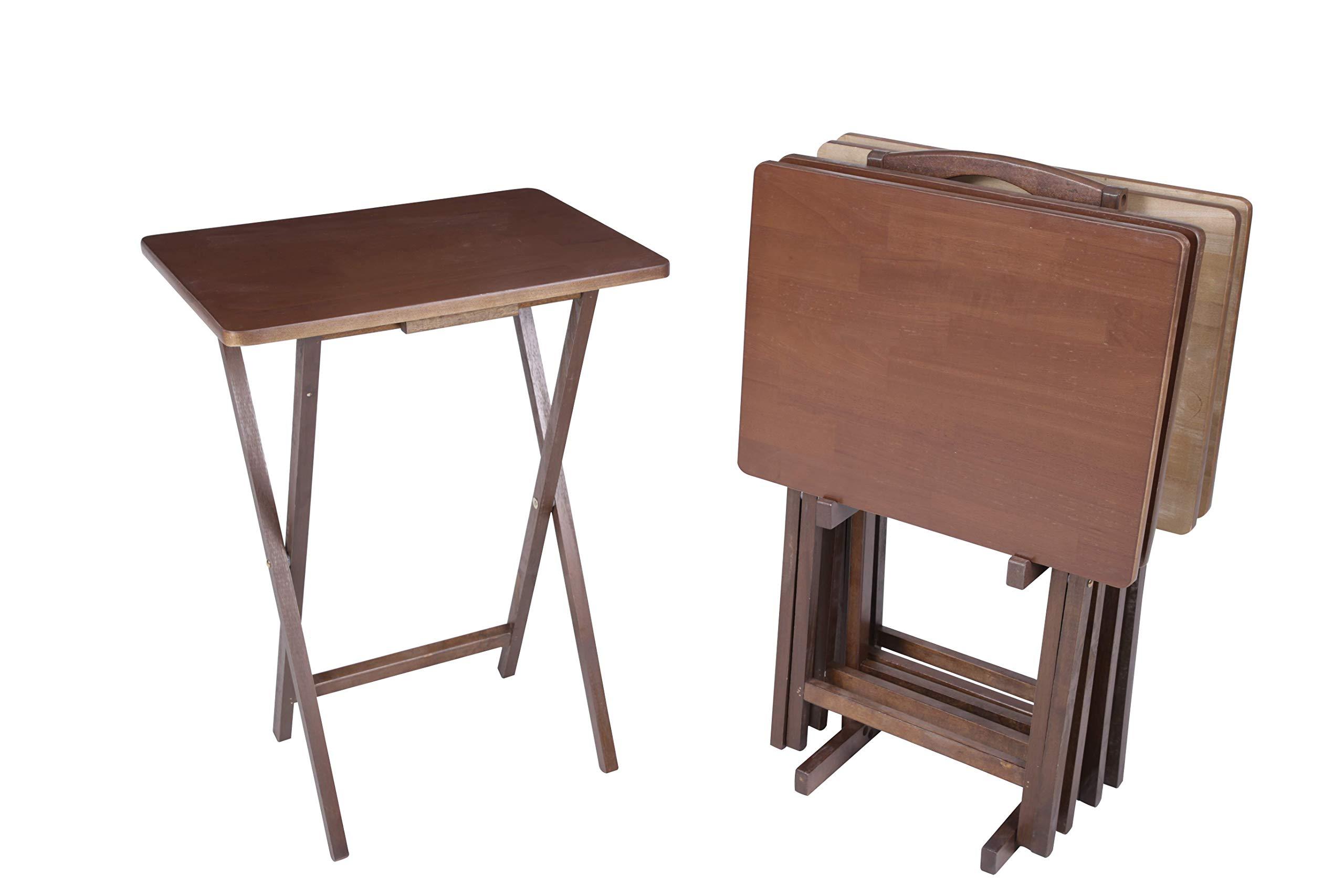 PJ Wood 5-piece Folding TV Tray & Snack Table - Honey Oak Finish Rubberwood by PJ Wood